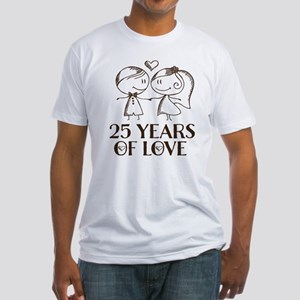 25th Anniversary chalk couple Fitted T-Shirt